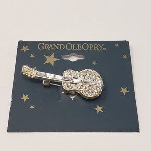 Grand Ole Opry Silver Rhinestone Guitar Brooch Pin